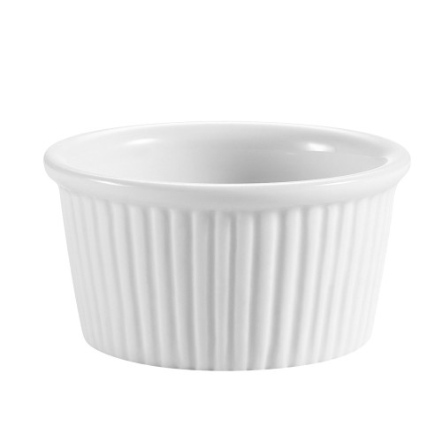 CAC RKF-2 2 oz. Fluted Super White Porcelain Ramekin