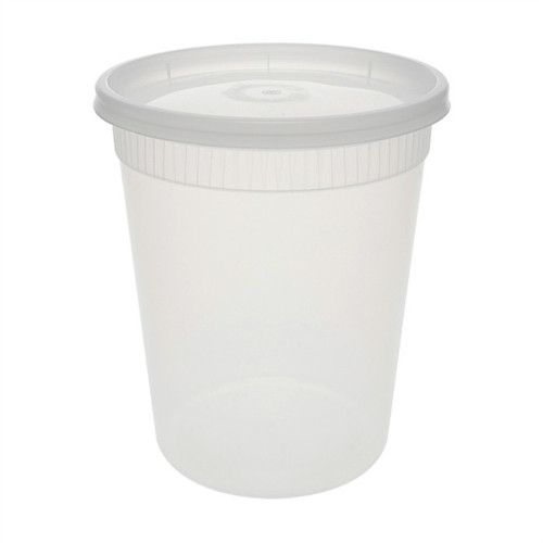 Pactiv 32 oz. Microwaveable Round Takeout Container and Lid Combo, Translucent, 240/Case