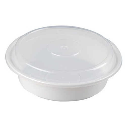 White 24 oz. Plastic Round Container with Clear Lid - 150/Case