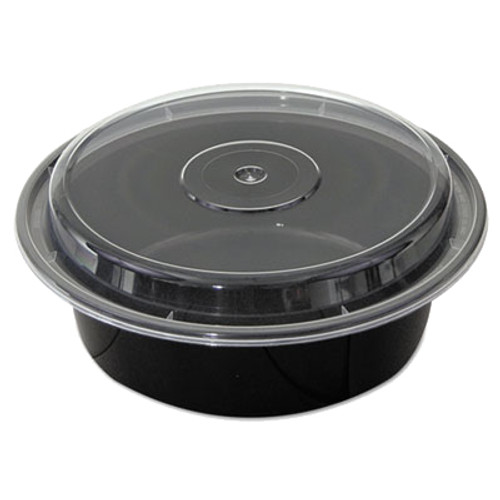 Black 32 oz. Plastic Round Container with Clear Lid - 150/Case