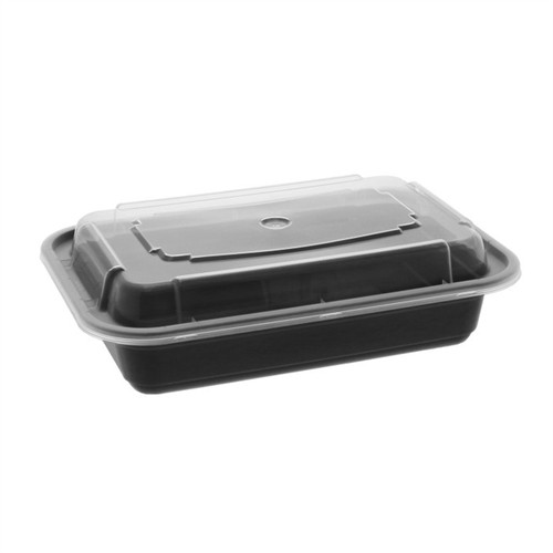 Black 16 oz. Plastic Rectangular Container with Clear Lid - 150/Case