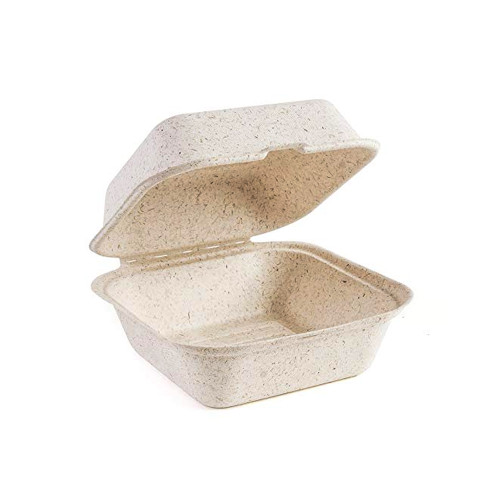 """Beige 6"""" x 6"""" x 3"""" Bagasse Hinged Container - 400/Case"""