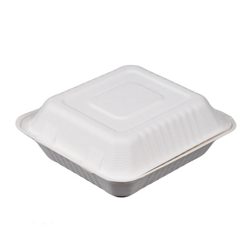 """White 8"""" x 8"""" x 3"""" Bagasse Hinged Container - 300/Case"""