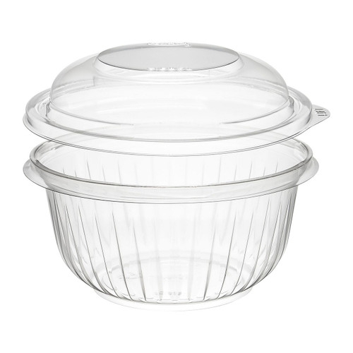 16 oz. Clear Plastic Bowl with Dome Lid - 252/Case