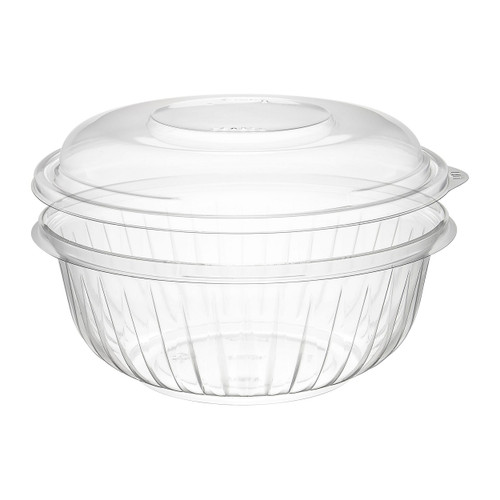 32 oz. Clear Plastic Bowl with Dome Lid - 126/Case