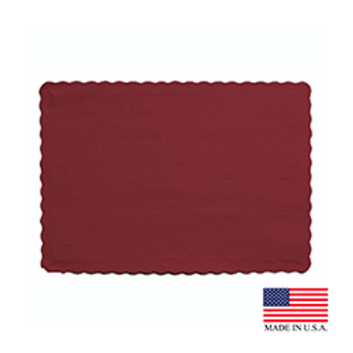 "10"" x 14"" Burgundy Placemat - 1000/Case"