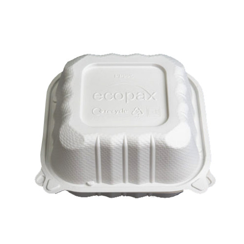 """Ecopax Pebble Box  Ivory 6"""" x 6"""" x 3"""" 1 Compartment Hinged Container - 250/Case"""