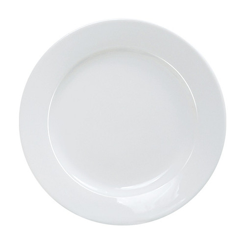 "Yanco AC-16 10 1/2"" Round Super White Porcelain Plate - 12/Case"
