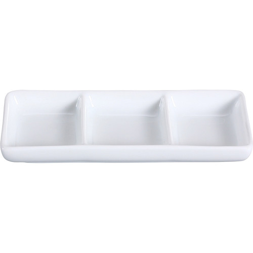 "Yanco LK-506 6"" x 2 1/2"" Rectangular Bone White 3-Compartment China Sauce Dish"