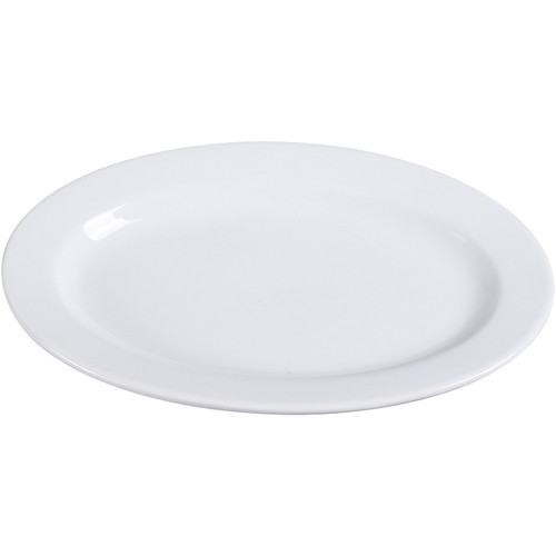 "Yanco AC-12 10 5/8"" x 7"" Super White Oval Porcelain Platter - 24/Case"
