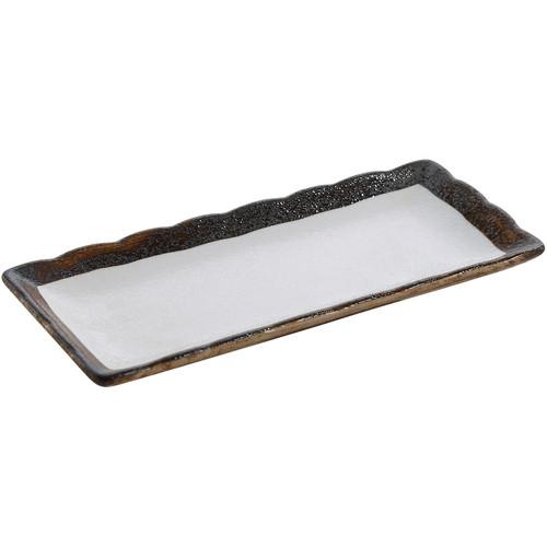 "Yanco RO-2110 10"" x 4 1/4"" Rectangular China Sushi Plate - 24/Case"