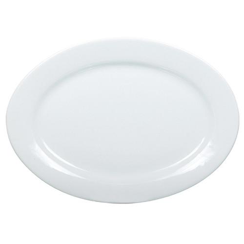 "Yanco AC-91 20"" x 13"" Super White Oval Porcelain Platter - 4/Case"