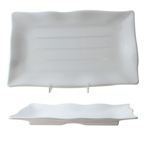 "Thunder Group 24120WT Classic White 11 1/4"" x 7 1/4"" Wave Rectangular Melamine Plate"