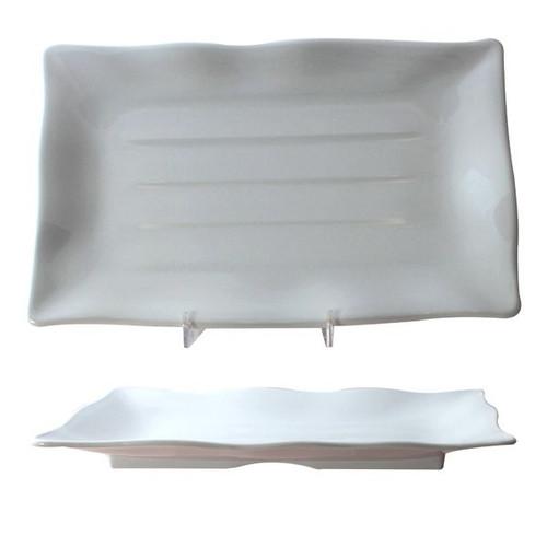 "Thunder Group 24140WT Classic White 13 1/5"" x 9 1/8"" Wave Rectangular Melamine Plate"