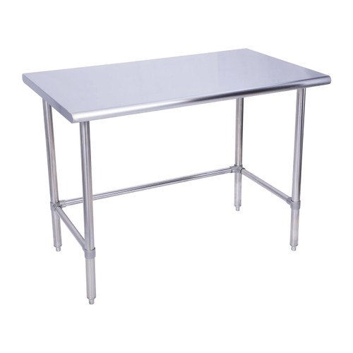 """KCS WSCB-3084 30"""" x 84"""" 18 Gauge Stainless Steel Open Base Work Table with Cross Bar"""