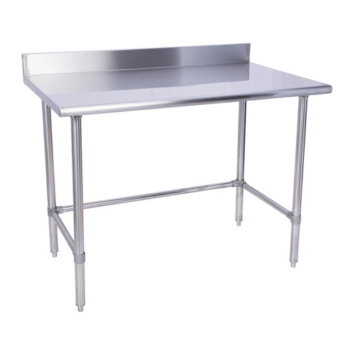 "KCS WSCB-3030-B 30"" x 30"" 18 Gauge Stainless Steel Open Base Work Table with Cross Bar and 4"" BackSplash"