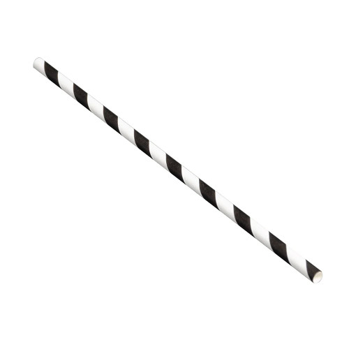 "Tablecraft 100110 Straws, 5-3/4"", 6mm, Black Stripe, Paper - 500/Pack"