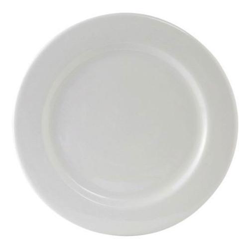 """Tuxton ALA-104 Round Plate, 10-1/2"""", R.E., Porcelain White - 1 dz/Case"""