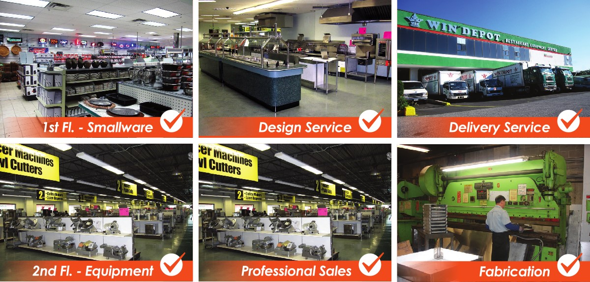Win Depot one stop shop for restaurant equipment and supplies.