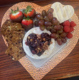 Brie with Cranberry walnut filling Heart Plate for Mother's Day