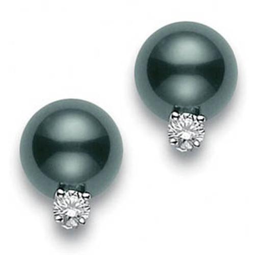 Black South Sea Pearl Stud Diamond Earrings (#351096)