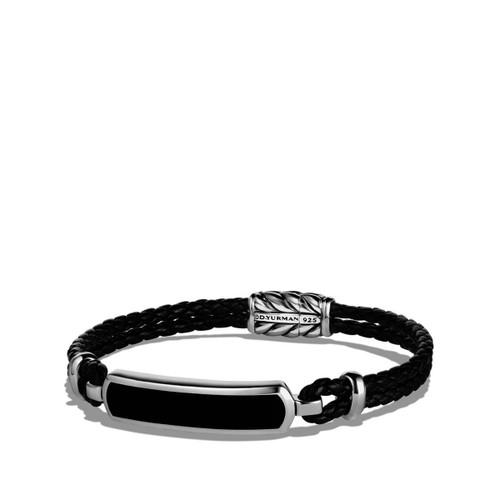 Black Leather Bracelet With Black Onyx (#349491)