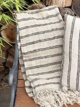 Handloomed/Rustic Linen Throw with Black Stripes