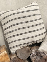 Handloomed/Rustic Linen Cushion Cover with Black Stripes (August Delivery)