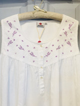Lavender Emb Sleeveless Nightdress
