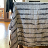 Table Cloth Black Stripes Handloomed/Rustic Linen