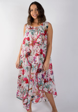 Bird Print White Bias Cut Long Dress