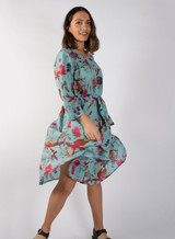 Bird Print Aqua Bias Cut Belted Dress