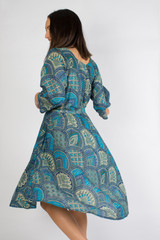 Blue Paisley Bias Cut Belted Dress