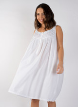 Amanda Buttoned Nightdress with Blue Ribbon