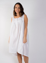 Amanda Buttoned Nightdress with Lavender Ribbon