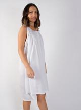 Amanda Buttoned Nightdress with Lavender Ribbon