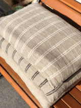 Handloomed/Rustic Linen Cushion Cover with White Stripes 40 X 60 cm