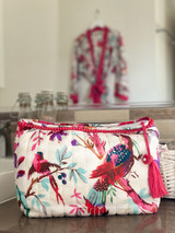 Bird Print White Make-Up Bag MIN OF 2