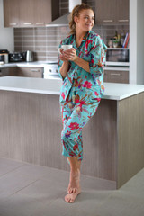 Bird Print Aqua 3/4 PJ Set