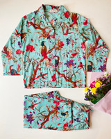 Bird Print Aqua Long PJ Set