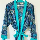 Blue Paisley Long Kimono