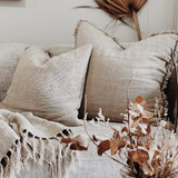 Cushion Cover Natural Handloomed/Rustic Linen with Fringe