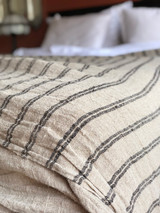 Hand Loomed Linen X Large Bed Cover with Black Stripes