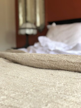 Bed Throw/Cover X Large Natural Hand Loomed Linen