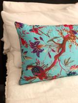 Bird Print Aqua Quilted Cushion Cover (Min of 2)