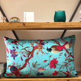 Bird Print Aqua Quilted Cushion Cover (Min of 2)
