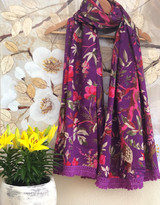 Bird Print Purple Scarf/Sarong MIN of 2