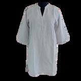 Grey Linen Buttonless Shirt Dress