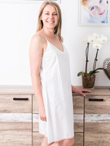 Lulu White Cotton Slip with Lace
