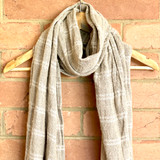 White Stripe Handloomed  Linen Scarf
